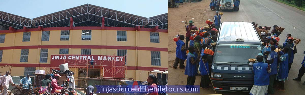 Views of Jinja Market, while roadside vendors struggle to sell to passengers in a taxi (R)