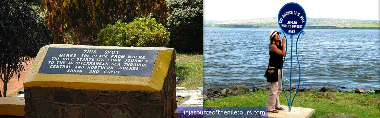 Monuments that mark the source of the Nile in Jinja district, Uganda, East Africa